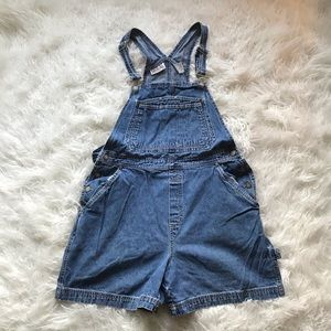VINTAGE BILL BASS 1990'S OVERALL JEAN SHORTS BLUE